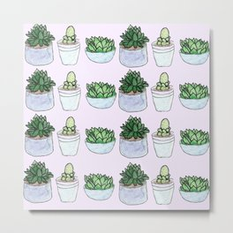 repeating succulents Metal Print