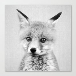 Baby Fox - Black & White Canvas Print