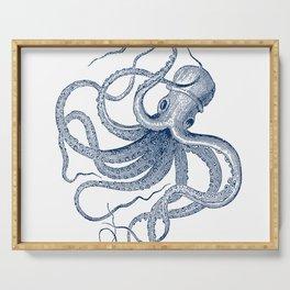 Blue nautical vintage octopus illustration Serving Tray