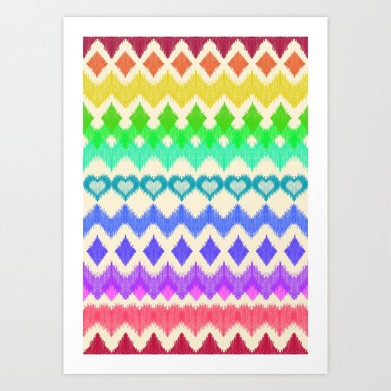 Ikat Pattern in Rainbow Colors on Cream Art Print