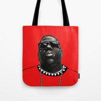 biggie Tote Bags featuring BIGGIE by amanda balboa