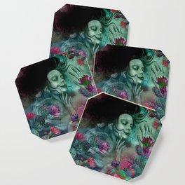 """""""Sirena between pastel cactus flowers"""" Coaster"""