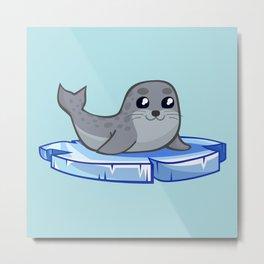 Cute baby seal cartoon Metal Print