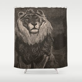 Lion illustration from L'art d'être grand-père - Victor Hugo - 1884 Shower Curtain