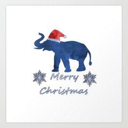 Santa Elephant Art Print