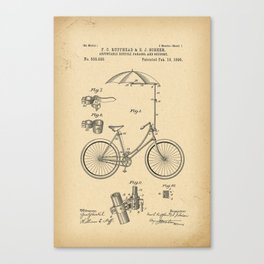 1896 Patent Adjustable bicycle parasol and support Canvas Print