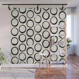 Polka Dots Circles Tribal Black and White Wall Mural