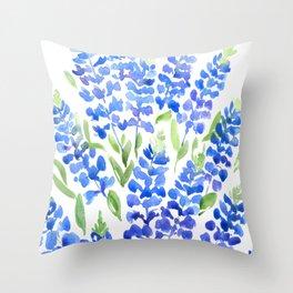 Watercolor Texas bluebonnets Throw Pillow