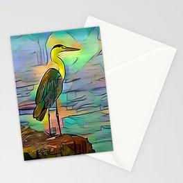 Grey heron on coast of ocean Stationery Cards