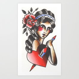 Girl with The Dagger through the Heart Tattoo Flash Watercolor Art Print