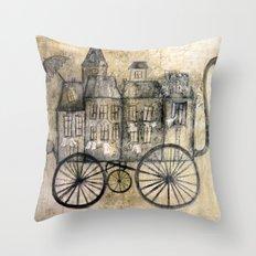 little town transport Throw Pillow