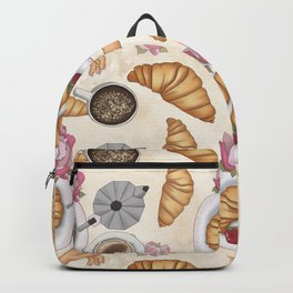 Good Morning Strawberries, Croissants And Coffee Pattern Backpack