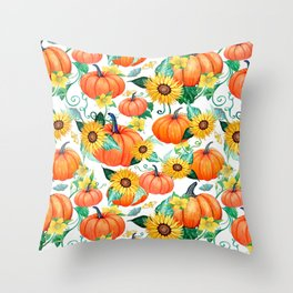 Pumpkins and Sunflowers with moths, watercolor botanical Throw Pillow