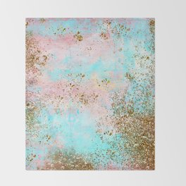 Pink and Gold Mermaid Sea Foam Glitter Throw Blanket