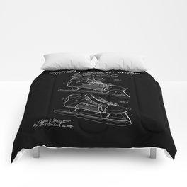 Hockey Skate Patent - Black Comforters