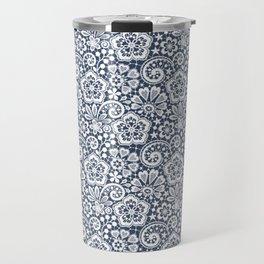 White Lace. Seamless Pattern. Travel Mug