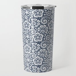 White Lace. Seamless Pattern. Travel Mug