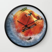 roald dahl Wall Clocks featuring James And The Giant Peach. by Jamie Briggs