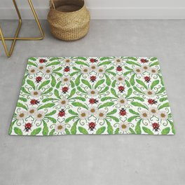 Ladybugs & Daisies - Cute Floral Bug Pattern with Ladybirds Rug