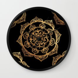 Gold Foil Mandala Wall Clock