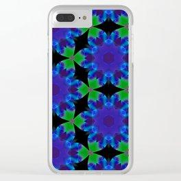 Indigo Green Roulette Geometric Pattern Clear iPhone Case
