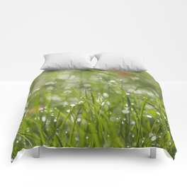 Fresh green meadow - Green grass with waterdroplets sparkling in the sun on #Society6 Comforters