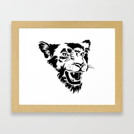Angry lioness Framed Art Print