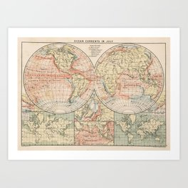 Vintage World Ocean Currents Map (1905) Art Print