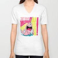 unicorn V-neck T-shirts featuring UNICORN! by Chris Piascik