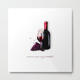 watercolor bottle of wine , glass of wine and grape Metal Print
