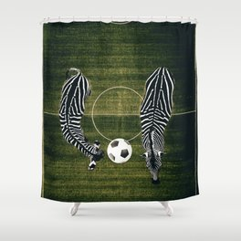 zebras playing soccer Shower Curtain