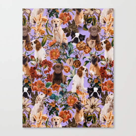Dog and Floral Pattern Canvas Print