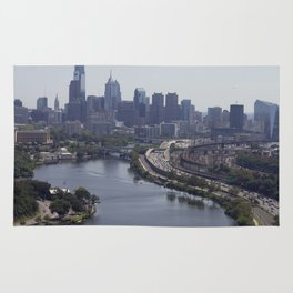 philly view from the zoo balloon Rug
