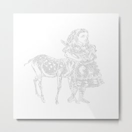 Alice and the Fawn in White with Transparent Background Metal Print