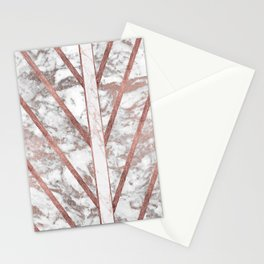 Modern faux rose gold white geometrical marble stripes Stationery Cards