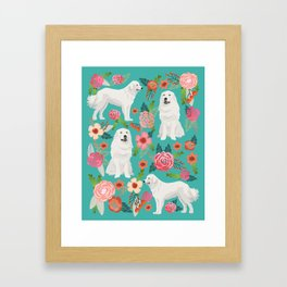 Great Pyrenees florals pattern dog breed must have dog lover gifts Framed Art Print