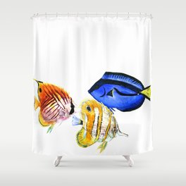 Coral Fish, tropical fish artwork, coral sea world Shower Curtain