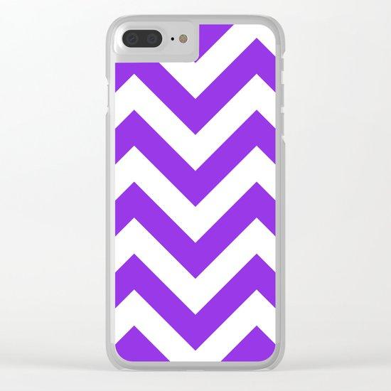 Large chevron pattern / blue violent Clear iPhone Case