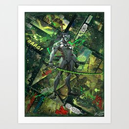 Genji Vibrant Green Samurai Comic Art Collage Art Print