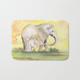Colorful Mom and Baby Elephant 2 Bath Mat