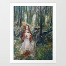 Gwynith and the White Rabbit Art Print