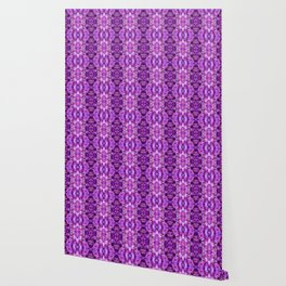 Violet Purple White Flower Pattern Wallpaper