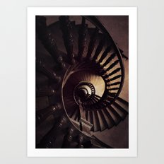 Ornamented spiral staircase in brown tones Art Print