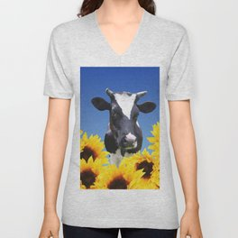 Cow black and white with sunflowers Unisex V-Neck