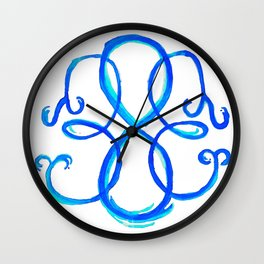 Path Of Life- Symbol (White / Blue) Wall Clock