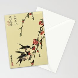 Moon Swallows and Peach Blossoms Stationery Cards