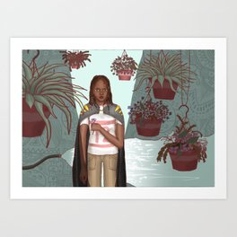 Girl with Plants Art Print