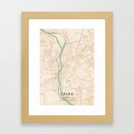 Cairo, Egypt - Vintage Map Framed Art Print