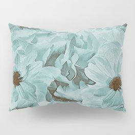 Soft Slate Blue Floral Abstract Pillow Sham