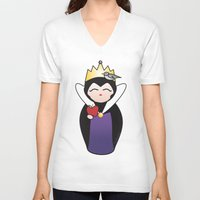 evil queen V-neck T-shirts featuring Evil Queen kokeshi by Pendientera